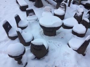 Sněhurka s trpaslíky v zimě