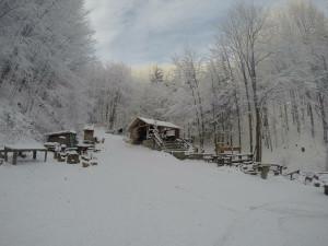 Zimní pohled na Lesní bar